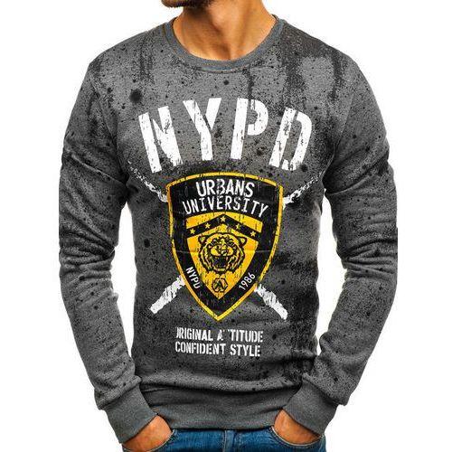 Bluza męska bez kaptura z nadrukiem grafitowa denley dd261, J.style