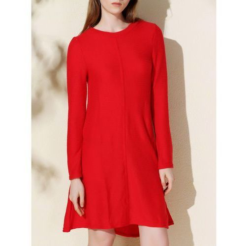 Simple Style Solid Color Round Collar Long Sleeve Knitted Dress For Women, kolor czerwony