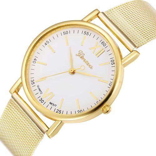 Geneva Zegarek blogerek klasyk złoty biały - mesh gold