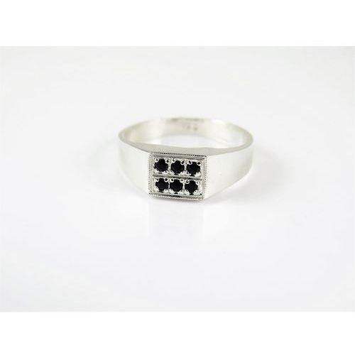Srebrny pierścionek 925 CZARNE OCZKA r. 16