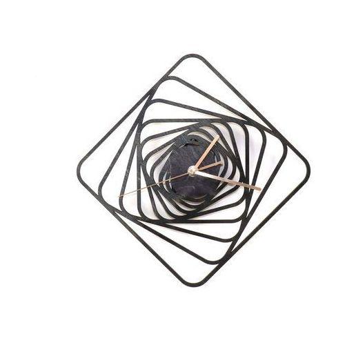 Congee.pl Drewniany zegar na ścianę kwadratowe spirale ze złotymi wskazówkami
