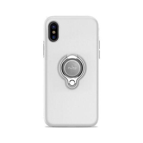 PURO Magnet Ring Cover - Etui iPhone X z magnetycznym uchwytem na palec (biały), kolor biały