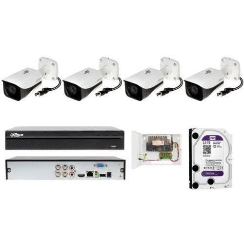 Zestaw monitoringu firmy Dahua z 4 kamerami tubowymi z detekcją ruchu
