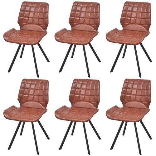 krzesła jadalniane ze sztucznej skóry 6 stuk brązowe marki Vidaxl