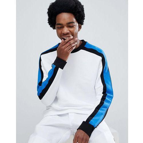 sweatshirt with side stripe in white - white marki Bershka