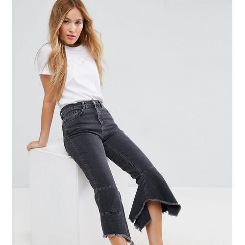 Asos petite  farleigh high waist slim mom jeans with extreme waterfall hem in washed black - black