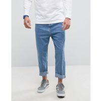 wide fit jeans in mid blue wash - blue, Bershka
