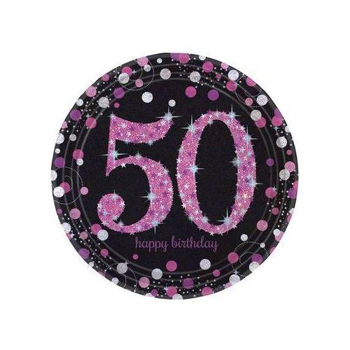 Talerze na 50 urodziny różowe Sparkling Celebration