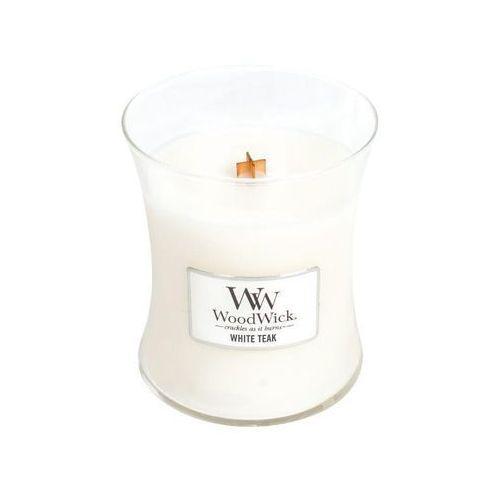 Woodwick - świeca średnia white teak 100h