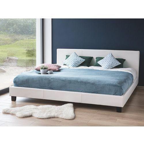 Łóżko białe - do sypialni - 180x200 cm - podwójne - skórzane - ORELLE, kolor biały