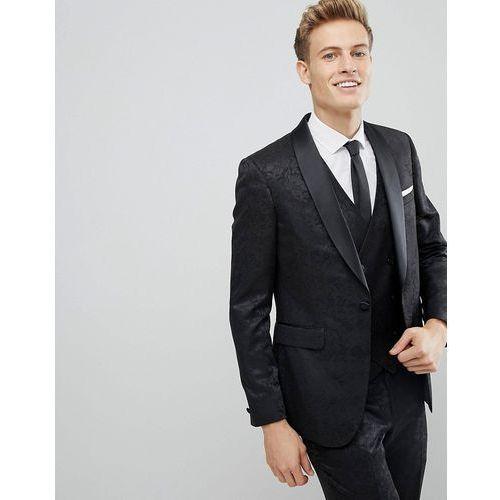 Burton Menswear Skinny Suit Jacket In Floral Glitter - Black, kolor czarny