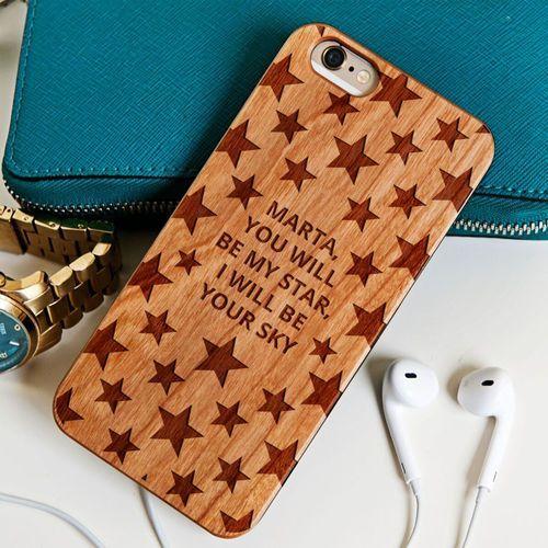 Gwiazdki - Drewniana Obudowa - Orzech - iPhone 5/5s/SE (obudowa do telefonu)