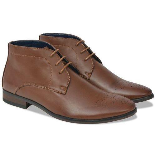 vidaXL Męskie sznurowane buty, brązowe, rozmiar 43, skóra sztuczna (8718475512066)