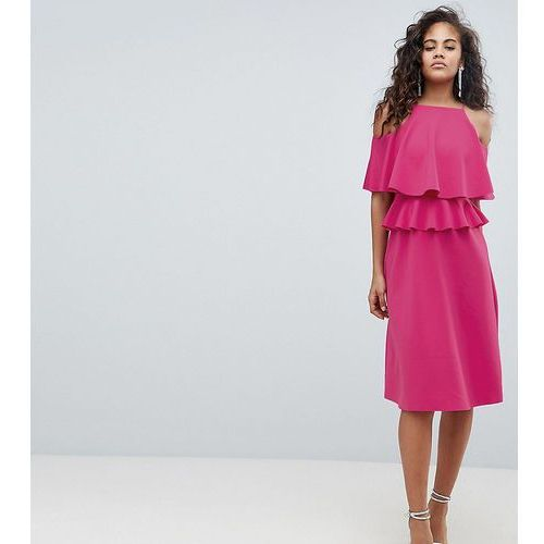 ASOS DESIGN Tall Midi High Neck Ruffle Skater Dress - Pink, kolor różowy