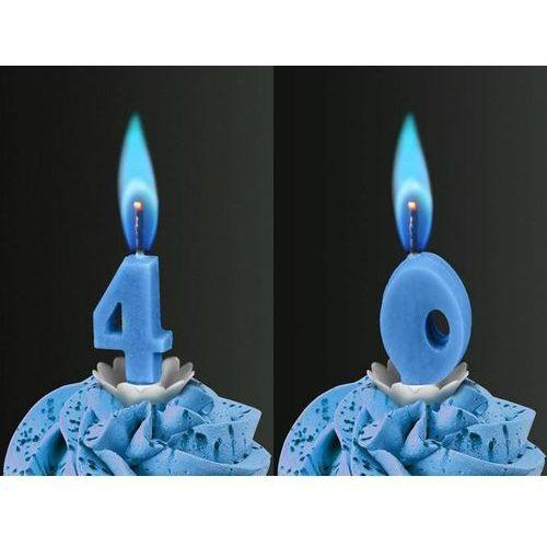 Świeczki cyferki z niebieskim płomieniem - 40 - czterdziestka - 2 szt. marki Sens
