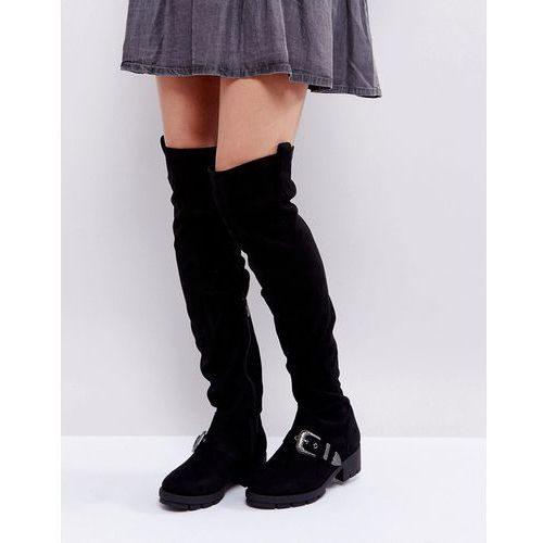 Truffle collection flat chunky over the knee boots - black