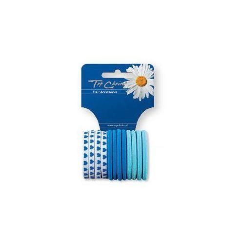 Top Choice Akcesoria do włosów Gumki do włosów zgrzewane niebieskie 12szt 21374, 6521374