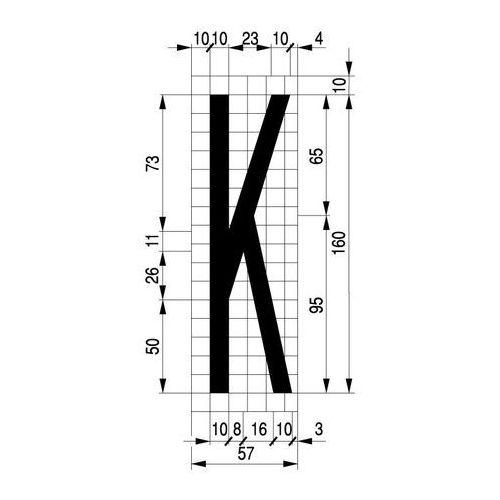 """Szablon do malowania na drodze, wysokość 160cm, litera """"k"""", tworzywo gr 1mm marki Szabloneria"""