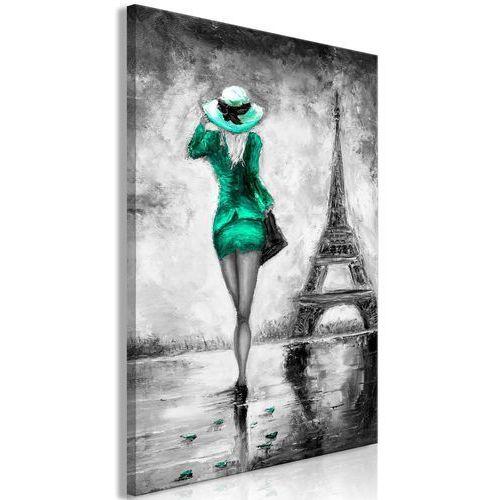 Obraz - Paryska kobieta (1-częściowy) pionowy zielony