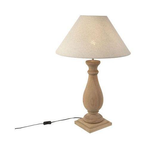 Qazqa Rustykalna lampa stołowa klosz lniany beżowy 55 cm - burdock