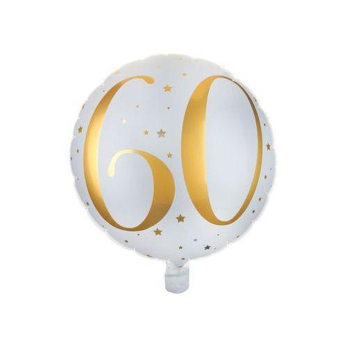 Balon foliowy biały ze złotym nadrukiem - 60tka - 35 cm - 1 szt. marki Santex
