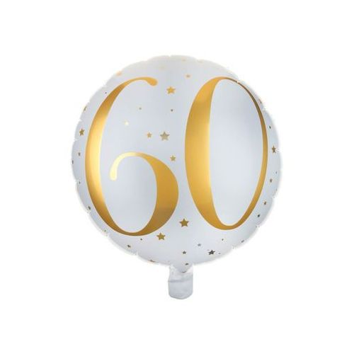 Santex Balon foliowy biały ze złotym nadrukiem - 60tka - 35 cm - 1 szt. (3660380045069)