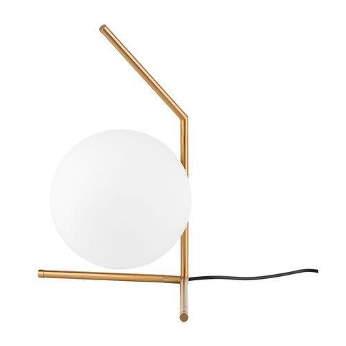 Minimalistyczna LAMPKA stołowa MONDO MTE2104/1 Italux stojąca LAMPA nocna kula ball biała mosiądz