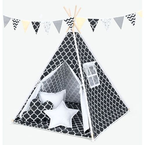 namiot tipi z matą i poduszkami maroko czarne / biały marki Mamo-tato