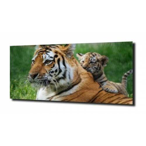 Obraz na szkle, panel szklany mama i tygrys 100x80 marki Zahartowani.pl