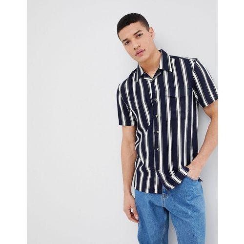 short sleeve shirt with vertical stripe - navy marki Bellfield