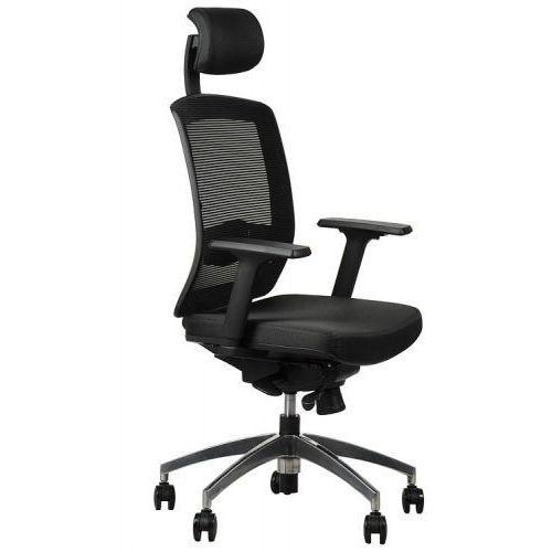 Fotel obrotowy biurowy z podstawą aluminiową i wysuwem siedziska model GN-301/CZARNY krzesło biurowe obrotowe