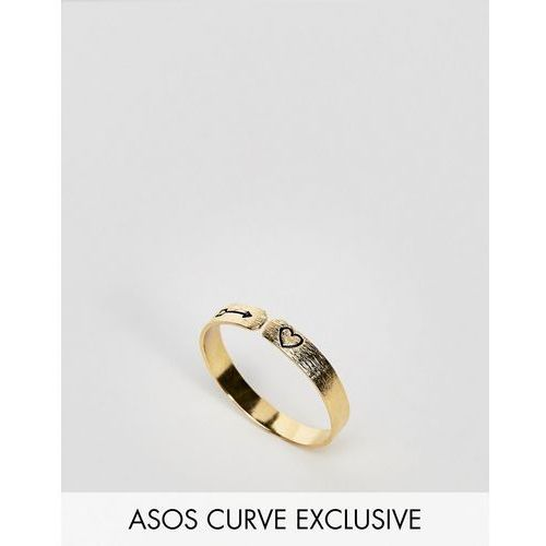 exclusive gold plated sterling silver mystical engraved ring - gold marki Asos curve