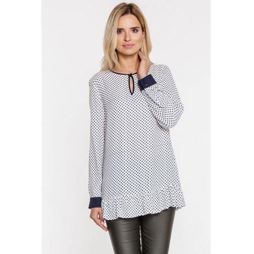 Biała tunika w drobne groszki z falbaną - Far Far Fashion, 1 rozmiar