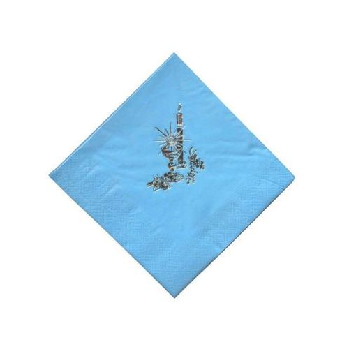 Serwetki komunijne Kielich ze świecą błękitne - 33 cm - 20 szt