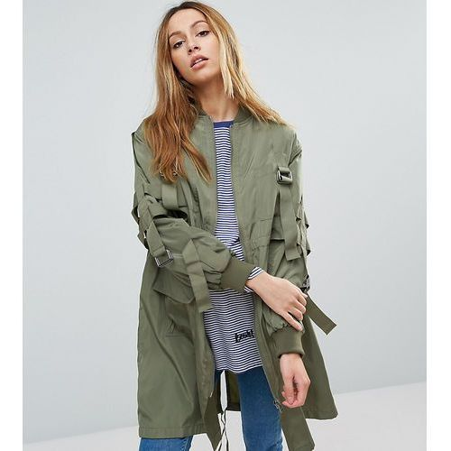 longline parka with parachute strapping - green, Asos maternity