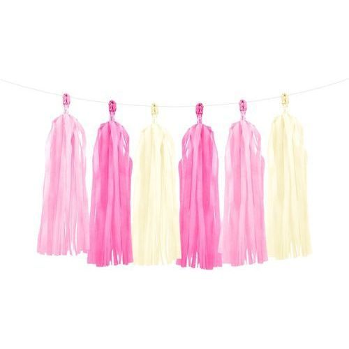 Girlanda z frędzlami różowymi i kremowymi - 150 cm - 1 szt.