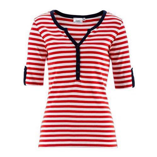 Shirt z krótkim rękawem bonprix truskawkowo-biały w paski