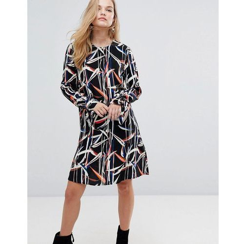 graphic printed mini shift dress with tie sleeves - multi marki Y.a.s