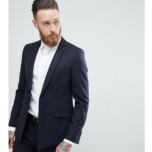 Heart & Dagger Skinny Suit Jacket In Wool Mix Check With Straight Hem - Navy, kolor szary