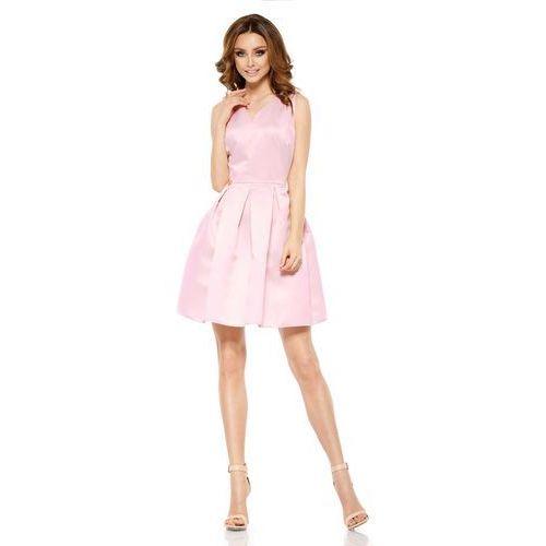 Różowa Połyskliwa Wieczorowa Sukienka Szerokim Dołem, GL257lpi