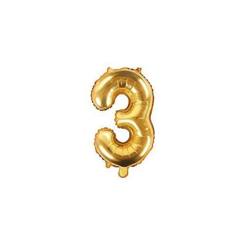 Party deco Balon foliowy cyfra 3 złota - 35 cm (5902230772540)