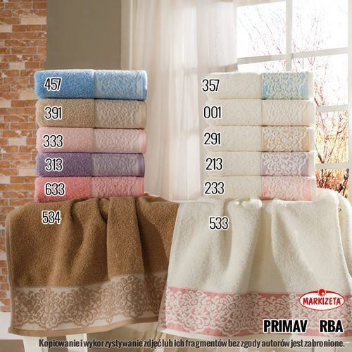 Markizeta Ręcznik primavera - kolor kremowy z jasnoróżową aplikacją primav/rba/233/070140/1 (2010000285824)