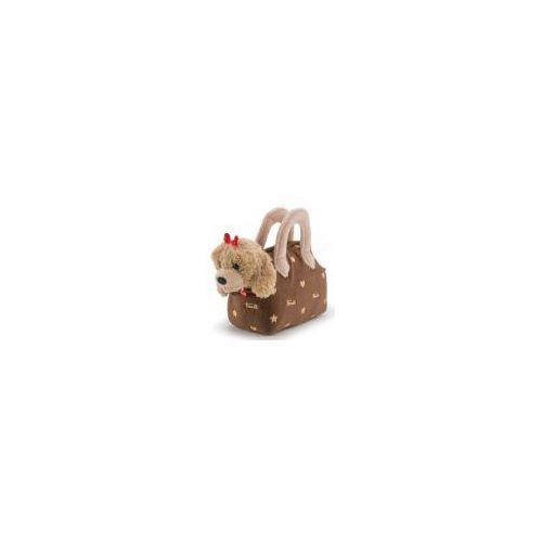 Uroczy piesek z kokardką w brązowej torebce Trudi