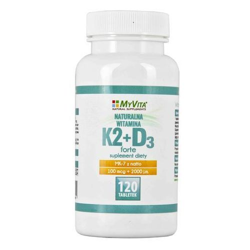 Tabletki Witamina K2 MK-7 K2MK7 + D3 100mcg+2000IU 120 tabletek MyVita