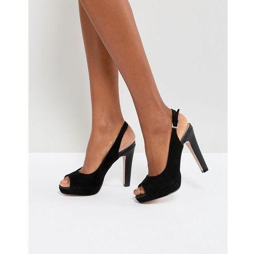 slingback peep toe platform sandal - black, Miss kg