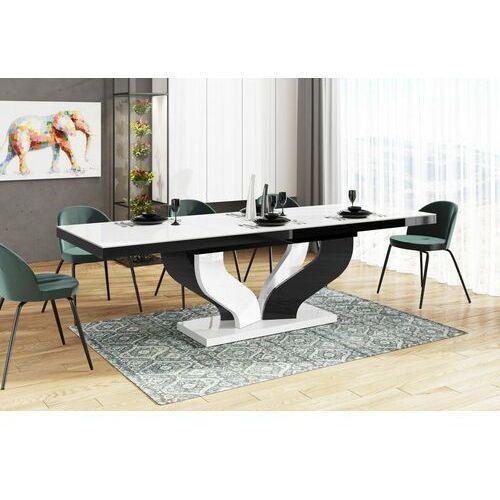 Hubertus Stół rozkładany viva 160-256 biało-czarny mix połysk