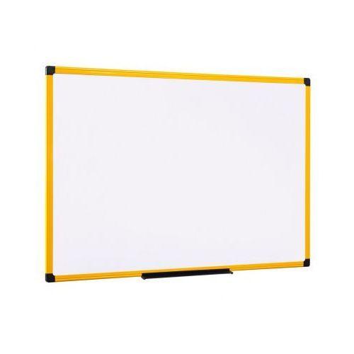Biała tablica do pisania, magnetyczna, żółta ramka, 1200x900 mm