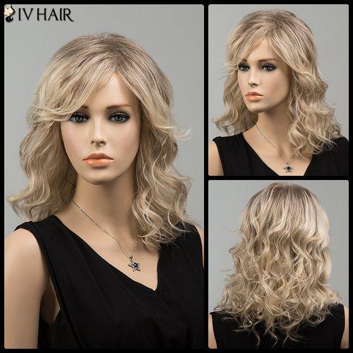 Medium Side Bang Wavy Human Hair Wig z kategorii Treski i peruki
