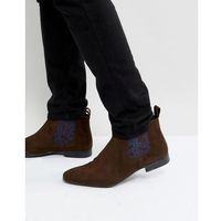 paisley chelsea boots in brown suede - brown, Silver street