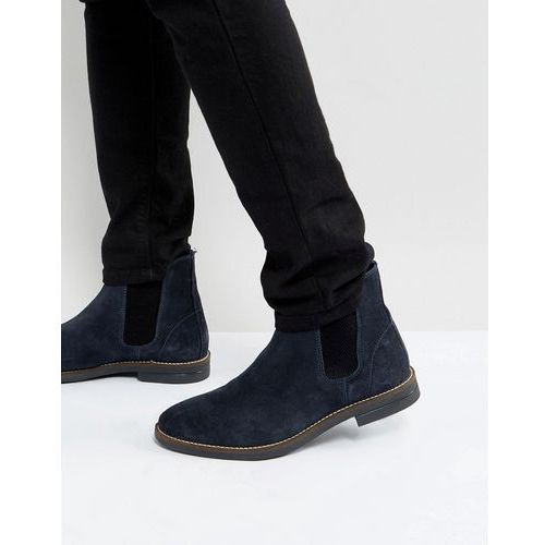 Silver street chelsea boots in navy suede - blue